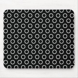 Black with White Circles, Polka Dots Mouse Pad