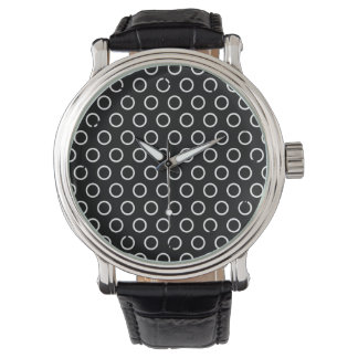 Black with White Circles, Polka Dots Wrist Watches
