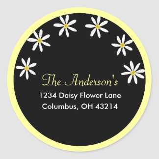 Black with White Daisies Address Labels Round Sticker