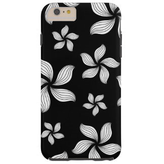 Black with White Flowers iPhone Case