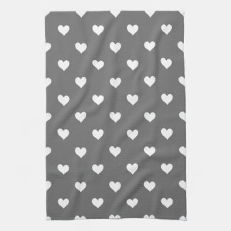 Black With White Hearts Kitchen Towel