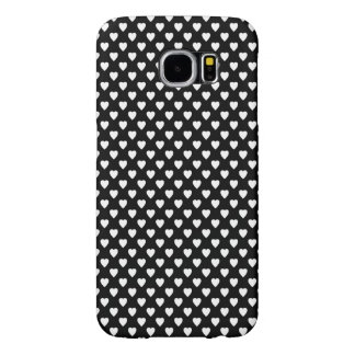 Black With White Hearts Samsung Galaxy S6 Cases