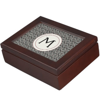 Black With White Lace Rounds Pattern With Initial Memory Box