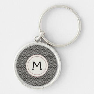 Black With White Lace Rounds Pattern With Initial Silver-Colored Round Key Ring