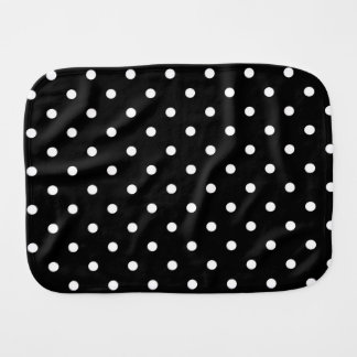 Black with White Polka Dots Burp Cloth