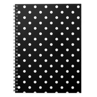 Black with White Polka Dots Spiral Notebook