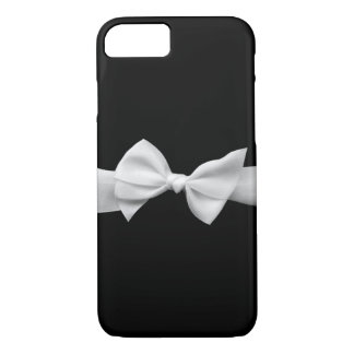 Black with white ribbon bow graphic iPhone 7 case