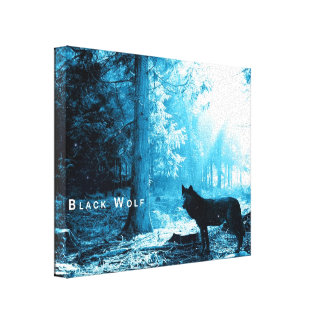 Black Wolf Alone in the Forest Gallery Wrapped Canvas