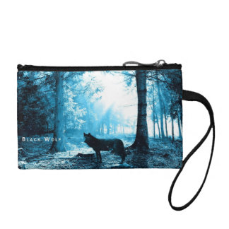 Black Wolf Alone in the Forest Coin Purse
