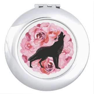 Black Wolf and Pink Roses Round Compact Mirror