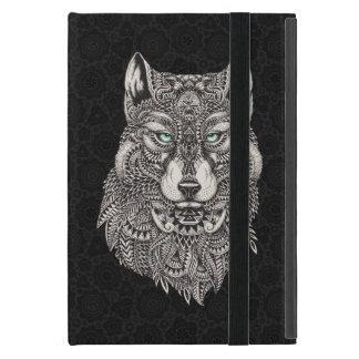 Black Wolf Head Ornate Illustration Case For iPad Mini