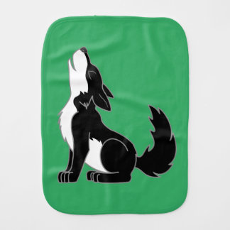 Black Wolf Pup Howling Burp Cloth