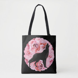 Black Wolf with Pink Roses Tote Bag