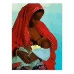 black woman breast-feeding child cartao postal