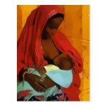 black woman breast-feeding child cartão postal