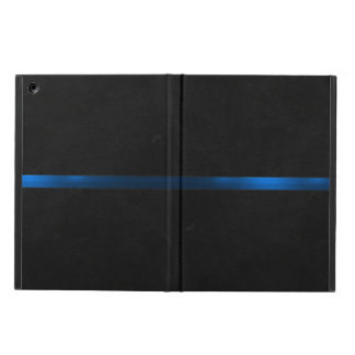 Black Wood Appearance Thin Blue Line Case For iPad Air