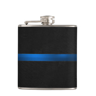 Black Wood Appearance Thin Blue Line Hip Flask