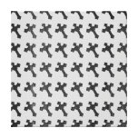 Black Wood Crosses on White Design Stretched Canvas Print