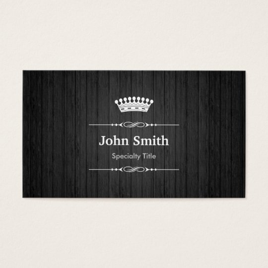 Black Wood Grain Royal Crown Double Sided Business