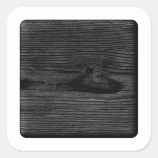 Black Wood Image. Square Sticker