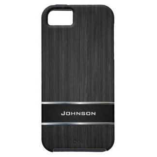 Black Wood Look with Silver Metal Leather Label iPhone 5 Covers