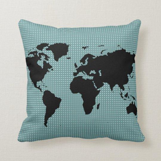 black world map and polka dots cushion