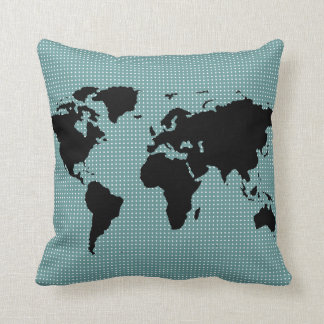 black world map and polka dots cushion