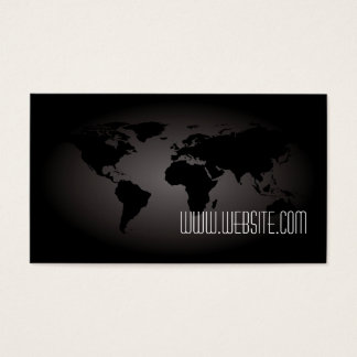 Black World Map Atlas Professional Business Card