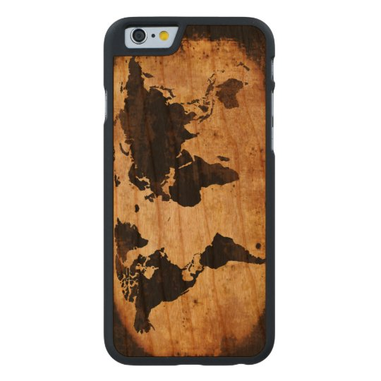 black world map carved cherry iPhone 6 case