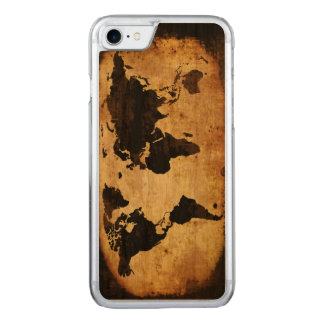 black world map carved iPhone 8/7 case