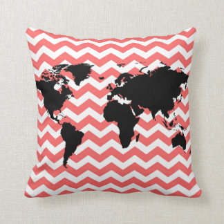 black world map / coral chevron cushion