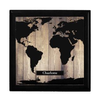 Black World Map Rustic Wood Planks Custom Name Large Square Gift Box