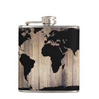 Black World Map Rustic Wood Planks Flasks