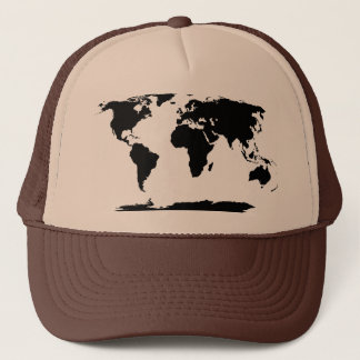 Black World Map Silhouette Trucker Hat