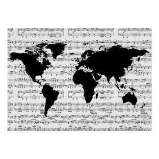 black world map with musical notes poster