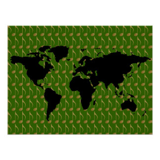 black worldmap with musical notes poster