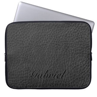 Black Worn-Out Fox Leather Look Monogram Laptop Sleeve