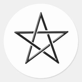 black woven pentagram.png round sticker
