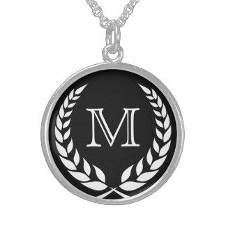 Black Wreath Frame Monogram Round Pendant Necklace