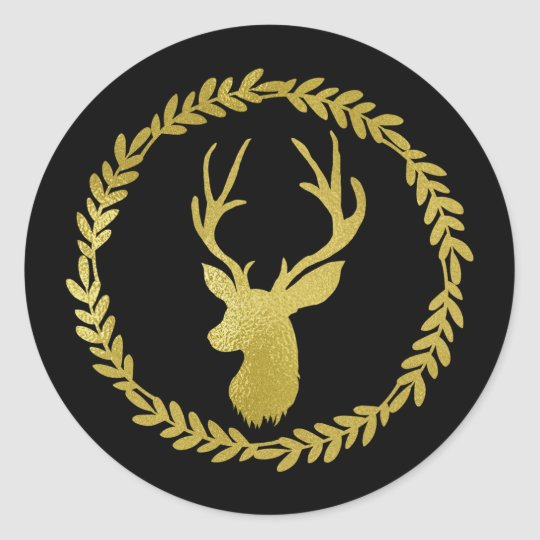 Black Wreath Gold Deer Christmas Classic Round Sticker