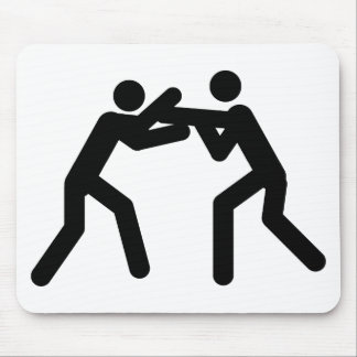 black wrestling sport icon mouse pads