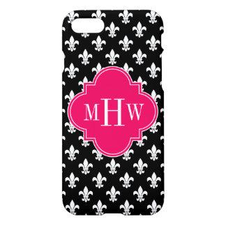 Black Wt Fleur de Lis Raspberry 3 Initial Monogram iPhone 7 Case