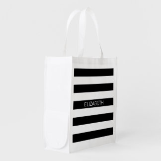 Black Wt Horizontal Preppy Stripe #2 Name Monogram Reusable Grocery Bag