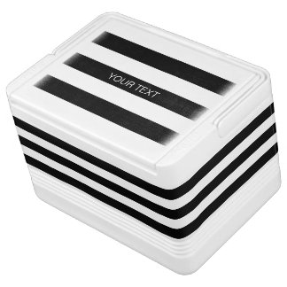 Black Wt Horizontal Preppy Stripe #3 Name Monogram Igloo Cool Box