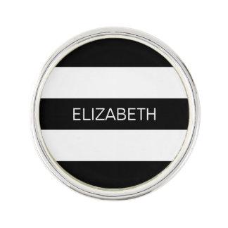Black Wt Horizontal Preppy Stripe #3 Name Monogram Lapel Pin