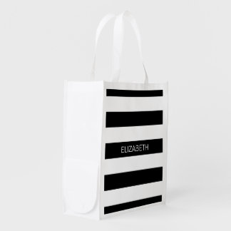 Black Wt Horizontal Preppy Stripe #3 Name Monogram Reusable Grocery Bag