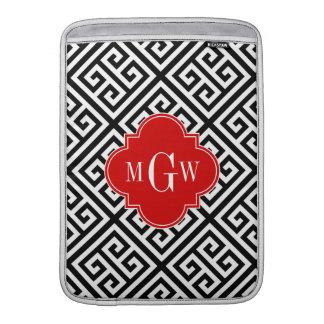 Black Wt Med Greek Key Diag T Red 3I Monogram MacBook Sleeves