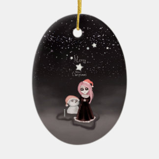 Black Xmas: A Merry Gothic Christmas Ceramic Oval Decoration