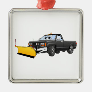 Black Y Pick Up Truck Snow Plow Cartoon Christmas Ornament