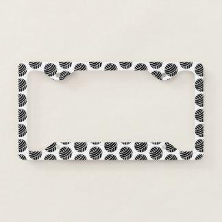 Black Yarn Ball Crafts Licence Plate Frame